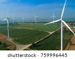 aerial view of wind turbines... | Shutterstock . vector #759996445