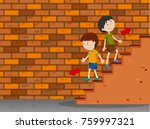 boys walking up and down the... | Shutterstock .eps vector #759997321