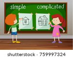 opposite words for simple and... | Shutterstock .eps vector #759997324