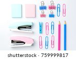 stationary concept  flat lay...   Shutterstock . vector #759999817