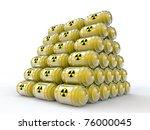 radioactive tanks isolated on white background - stock photo