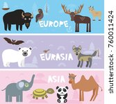 cute animals set bison panda... | Shutterstock . vector #760011424