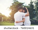 smiling young couple in love... | Shutterstock . vector #760014631