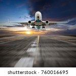 passenger aircraft takes off... | Shutterstock . vector #760016695