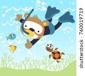 scuba dive cartoon vector   Shutterstock .eps vector #760019719