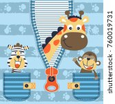 Funny Animals On Striped...