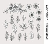 floral set with flowers and... | Shutterstock .eps vector #760022095