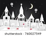 merry christmas night and... | Shutterstock .eps vector #760027549