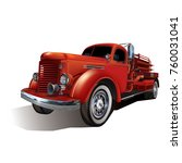 retro fire truck isolated on... | Shutterstock .eps vector #760031041