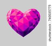 pink heart. geometric triangle... | Shutterstock .eps vector #760035775