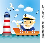 Captain Ship Lighthouse And...