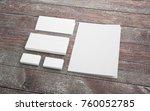 blank stationery set on wooden... | Shutterstock . vector #760052785
