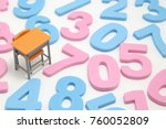 numbers and desk on white... | Shutterstock . vector #760052809