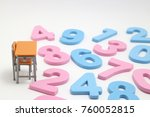 numbers and desk on white... | Shutterstock . vector #760052815