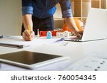 architect man holding pencil... | Shutterstock . vector #760054345