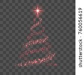 stylized red christmas tree as... | Shutterstock .eps vector #760056619