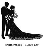 a bride and groom on their... | Shutterstock .eps vector #76006129