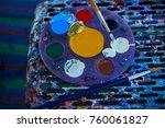 circular painting palette full... | Shutterstock . vector #760061827