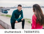 young couple preparing for a... | Shutterstock . vector #760069351