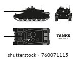 silhouette of realistic tank... | Shutterstock .eps vector #760071115