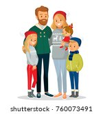 christmas family portrait | Shutterstock .eps vector #760073491