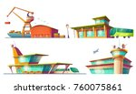 bus and train station buildings ... | Shutterstock .eps vector #760075861