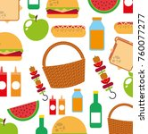 picnic party scene icon | Shutterstock .eps vector #760077277