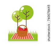 picnic party scene icon | Shutterstock .eps vector #760078645