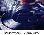 dj shop.dj headphones on... | Shutterstock . vector #760079899