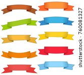 set of ten multicolor ribbons... | Shutterstock .eps vector #760081327