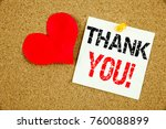 Small photo of Conceptual hand writing text caption inspiration showing Thank You concept for Giving Gratitude Appreciate Message and Love written on sticky note, reminder cork background with space