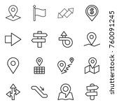 thin line icon set   pointer ... | Shutterstock .eps vector #760091245