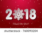 vector happy new year 2018... | Shutterstock .eps vector #760093204