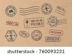 post marks set on craft paper... | Shutterstock .eps vector #760093231