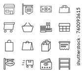 thin line icon set   shop ... | Shutterstock .eps vector #760093615