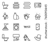 thin line icon set   toilet ... | Shutterstock .eps vector #760093645