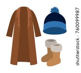 winter clothes coat and wool... | Shutterstock .eps vector #760099987