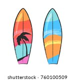 two colorful surfing boards...   Shutterstock .eps vector #760100509