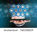 view of a application center... | Shutterstock . vector #760100629