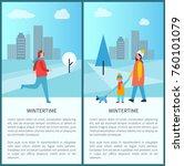 wintertime outdoor activities... | Shutterstock .eps vector #760101079