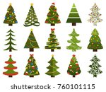 big set of christmas tree... | Shutterstock .eps vector #760101115