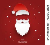 santa claus hat and beard on... | Shutterstock .eps vector #760101805