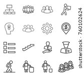 thin line icon set   hierarchy  ... | Shutterstock .eps vector #760102624