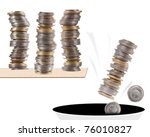 Small photo of Stack of coins, polish zloty squander money falling down into black hole, concept image expressing negative lose of money, squandering, savings disappear to hole of nothing.