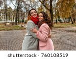 girls friends laughing and... | Shutterstock . vector #760108519