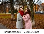 girls friends laughing and... | Shutterstock . vector #760108525