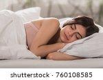 attractive girl sleeping in bed ... | Shutterstock . vector #760108585