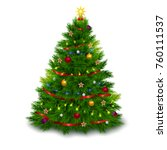 bushy decorated christmas tree... | Shutterstock .eps vector #760111537