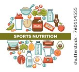 fitness food poster of sports... | Shutterstock .eps vector #760114555