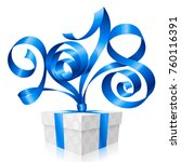 vector blue ribbon and gift box ... | Shutterstock .eps vector #760116391